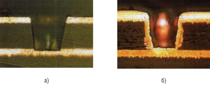 Фотографии микрошлифов глухого отверстия