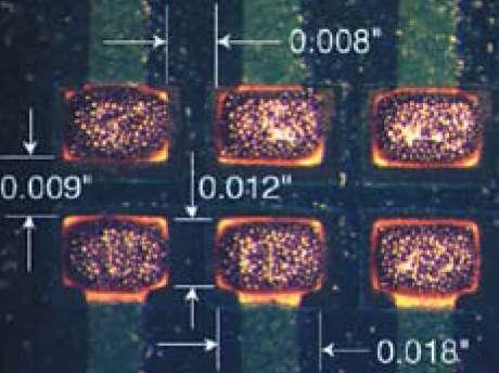 Паяльная паста, нанесенная на КП типоразмера ОБй (вид сверху)