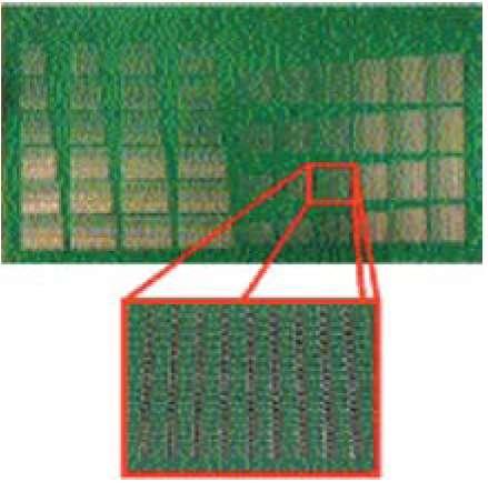 Фотография тестовой платы для компонентов 0201