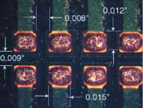Паяльная паста, нанесенная на КП типоразмера BEG (вид сверху)