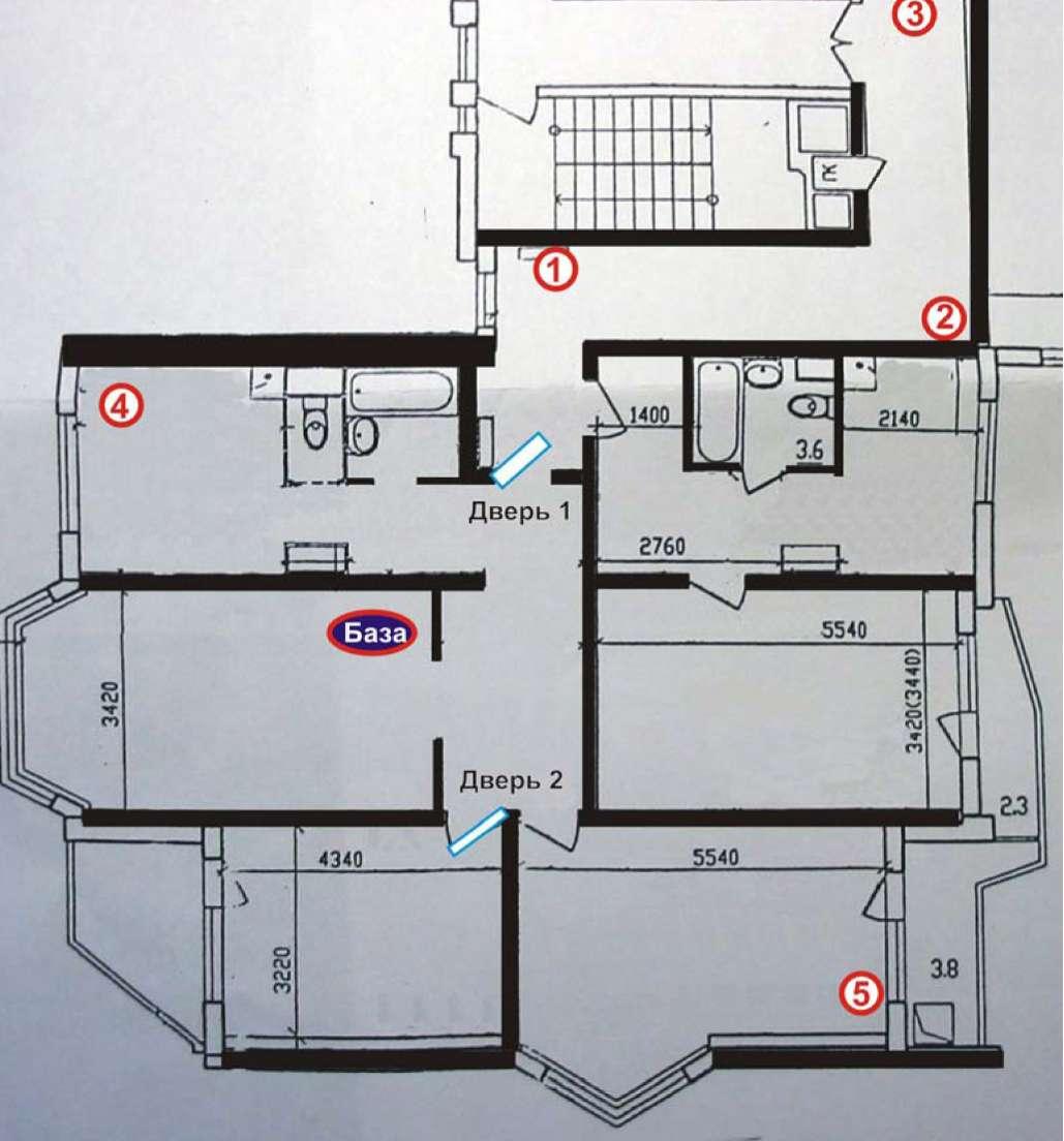 План помещения и места расположение испытуемых модулей