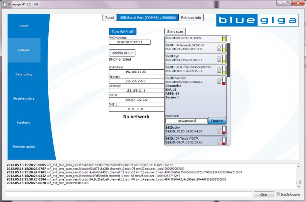 Интерфейс программы Bluegiga BGGUI
